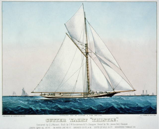 "Cutter Yacht ""Thistle"": Designed by G.L. Watson. Built by D.W. Henderson & Co. Glasgow. Owned by Mr. James Bell, Glasgow"