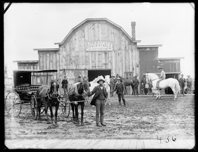 C.W. Hocaboon's Livery Feed & Sale stable, Broken Bow, Custer County, Nebraska.