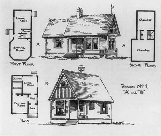 Design no. 1. Plan A and plan B of frame cottages