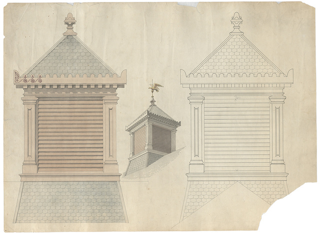 [Government Hospital for the Insane (Saint Elizabeths Hospital), Washington, D.C. Cupola. Elevation, elevation rendering, and perspective rendering]