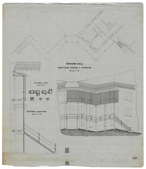 [Government Hospital for the Insane (Saint Elizabeths Hospital), Washington, D.C. Howard Hall (Building No. 12). Courtyard veranda and staircase. Plan, section/elevation, and perspective rendering ]