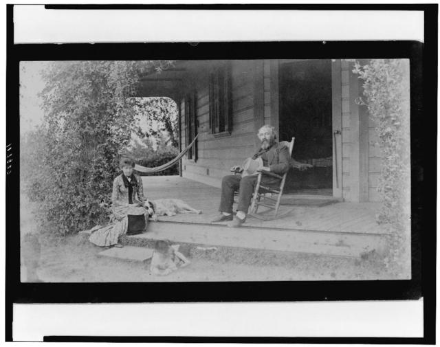 [Grace Ellery Channing Stetson seated with her uncle, William Douglas O'Connor, on porch of the Channing home, 170 N. Orange Grove Ave., Pasadena, California]