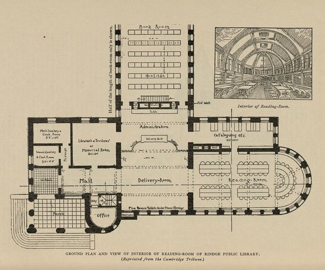 Ground plan and sketch of Rindge Public Library reading room