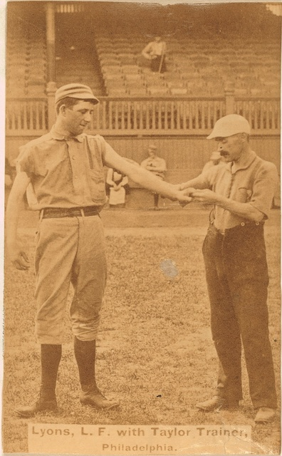 [Harry Lyons and Billy Taylor, Philadelphia Quakers, baseball card portrait]