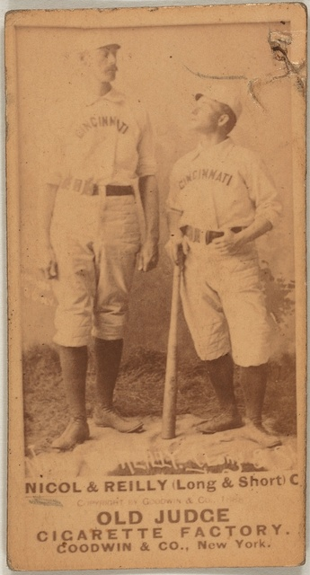 [Hugh Nicol/Long John  (Long & Short) Reilly, Cincinnati Red Stockings, baseball card portrait]