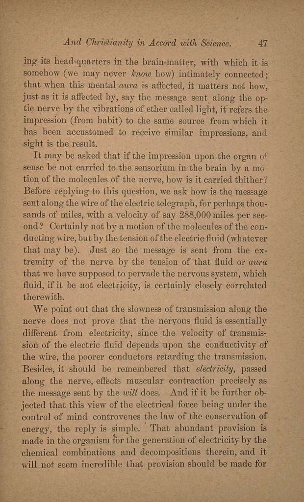 Immortality of the soul voiced by nature, and, Christianity in accord with science