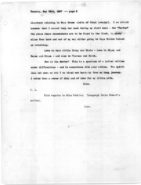 Letter from Alexander Graham Bell to Mabel Hubbard Bell, May