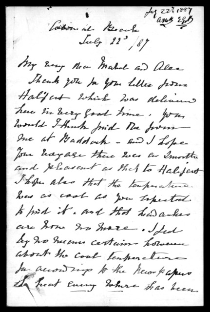 Letter from Eliza Symonds Bell and Alexander Melville Bell to Mabel Hubbard Bell and Alexander Graham Bell, July 22, 1887