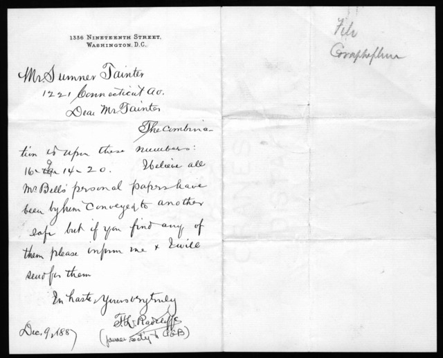 Letter from F. L. Radcliffe to Charles Sumner Tainter, December 9, 1887