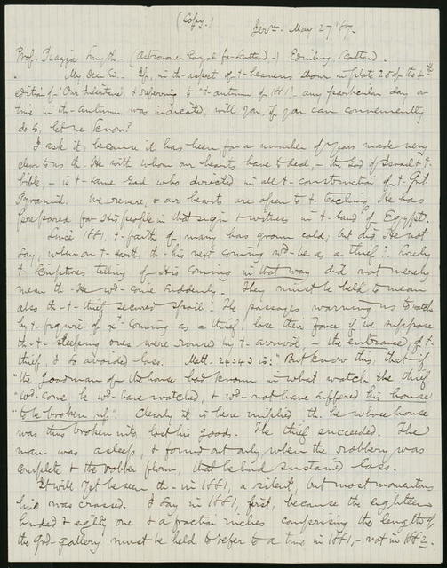 Letter from Horatio Gates Spafford to Charles Piazza [Piazzi] Smyth