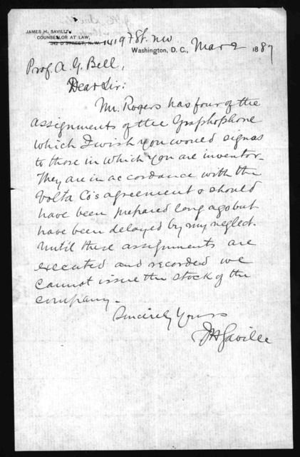 Letter from James H. Saville to Alexander Graham Bell, March 2, 1887