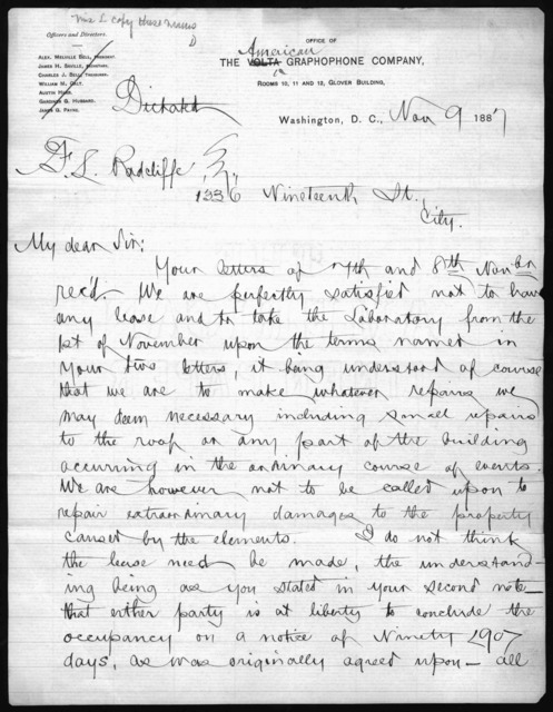 Letter from James H. Saville to F. L. Radcliffe, November 9, 1887