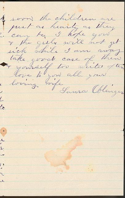 Letter from Laura I. Oblinger to Uriah W. Oblinger, July 15, 1887