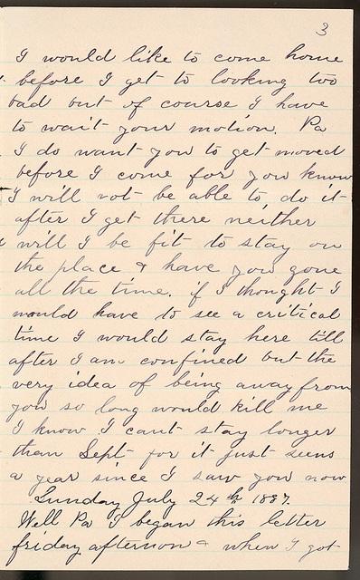 Letter from Laura I. Oblinger to Uriah W. Oblinger, July 22, 1887