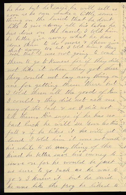 Letter from Laura I. Oblinger to Uriah W. Oblinger, May 8, 1887