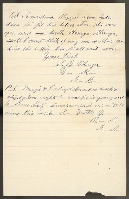 Letter from Stella Oblinger to Rhoda Bacon, Lucy Bacon, Sadie Oblinger, and Nettie Oblinger, April 24, 1887