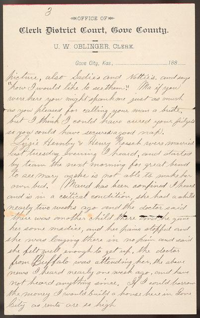 Letter from Uriah W. Oblinger to Laura I. Oblinger, Nettie Oblinger, and Sadie Oblinger, July 19, 1887