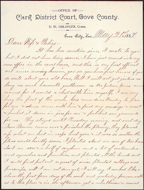 Letter from Uriah W. Oblinger to Laura I. Oblinger, Sadie Oblinger, and Nettie Oblinger, May 21, 1887