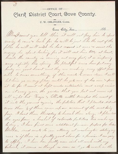 Letter from Uriah W. Oblinger to Laura I. Oblinger, Sadie Oblinger, and Nettie Oblinger, May 21, 1887