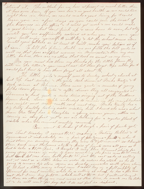 Letter from Uriah W. Oblinger to Laura I. Oblinger, Sadie Oblinger, and Nettie Oblinger, May 10, 1887