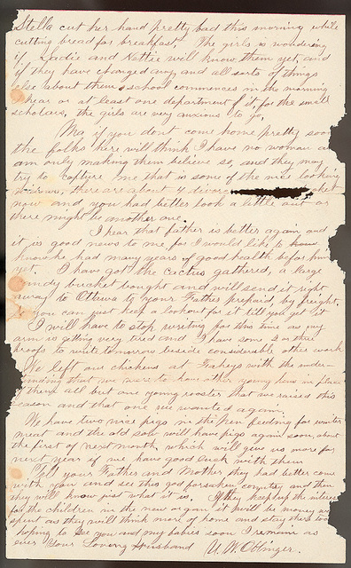 Letter from Uriah W. Oblinger to Laura I. Oblinger, Sadie Oblinger, and Nettie Oblinger, September 11, 1887