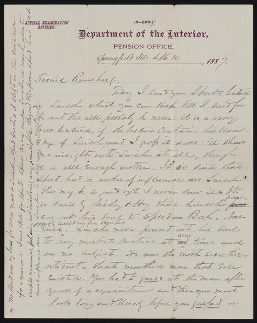 Letter to Remsburg from W. H. Herndon, September 10, 1887.