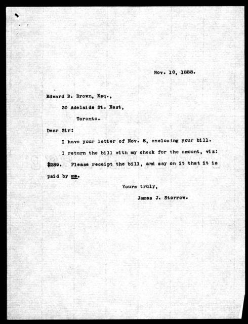 Letters from James J. Storrow to Edward B. Brown, from May 12, 1887 to November 10, 1888