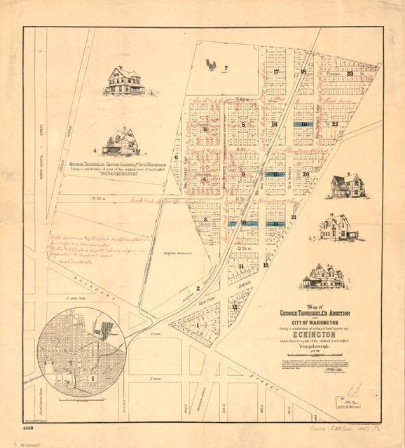 Map of George Truesdell's addition to the city of Washington : being a subdivision of a tract of land known as Eckington, which tract is a part of the original tract called Youngsborough : May 1887 /