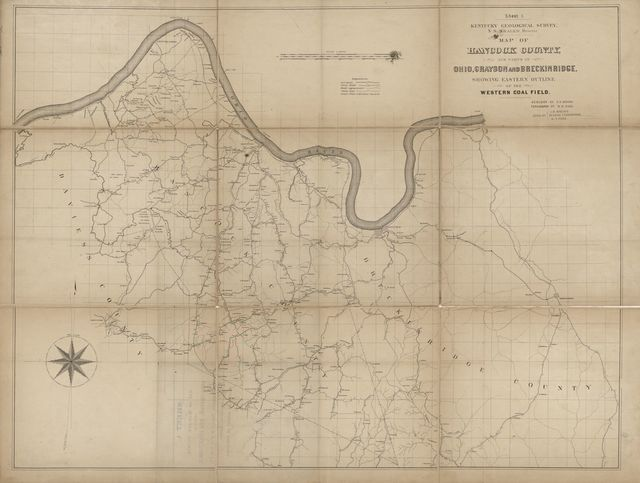 Map of Hancock County and parts of Ohio, Grayson and Breckinridge : showing eastern outline of the western coal field /