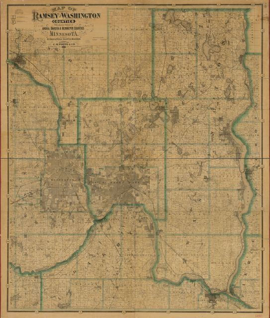 Map of Ramsey and Washington counties : with adjacent portions of Anoka, Dakota & Hennepin counties, Minnesota, and parts of St. Croix & Pierce counties, Minnesota /
