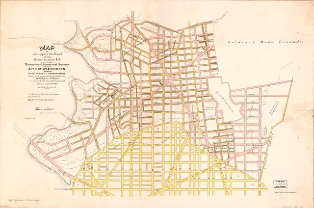 Map to accompany the report of the Commissioners D.C. on the extension of streets and avenues of the city of Washington between Rock Creek and Lincoln Avenue : within limits designated by Senate bill 2201, 49th Congress, 1st Session, in response to a resolution of the Senate of the U.S. adopted August 4th 1886 /