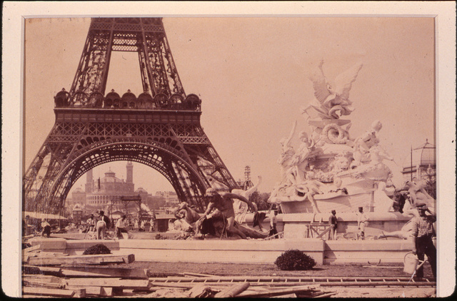 [Men building the Fountain St. Vidal near the Eiffel Tower, Paris Exposition, 1889]