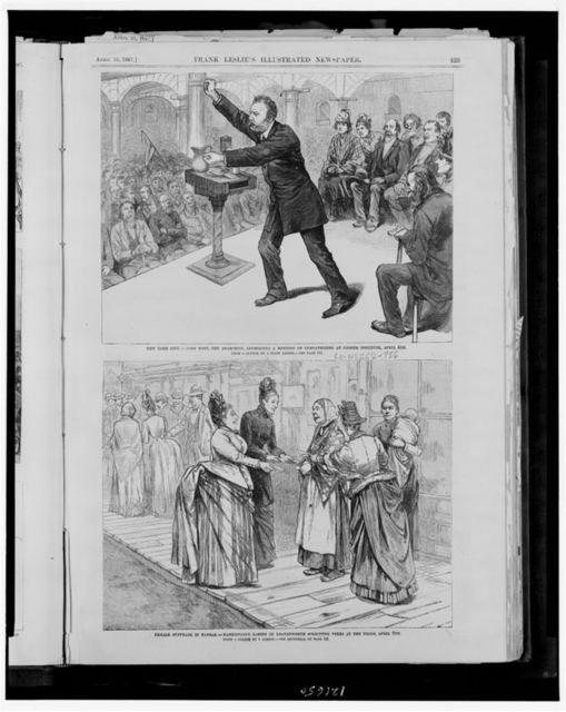 New York City - John Most, the anarchist, addressing a meeting of sympathizers at Cooper Institute, April 4th / from a sketch by a staff artist. Female suffrage in Kansas - fashionable ladies of Leavenworth soliciting votes at the polls, April 5th / from a sketch by J. Gibson.