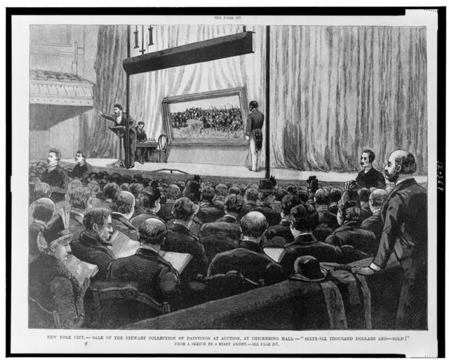 """New York City--Sale of the Stewart collection of paintings at auction, at Chickering Hall--""""Sixty-six thousand dollars and--sold!"""" / from a sketch by a staff artist."""
