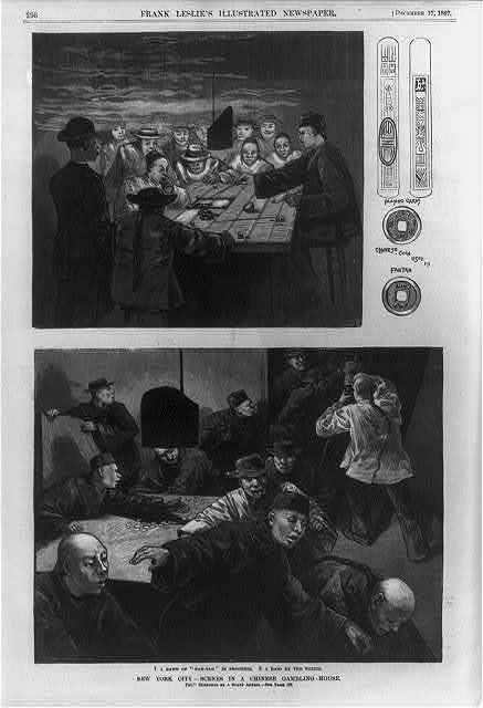 "New York scenes in a Chinese gambling-house - 1. A game of ""Fan-Tan"" in progress; 2. A raid by the police.  Small drawing of Chinese playing cards and of Chinese coin used in Fan-Tan"