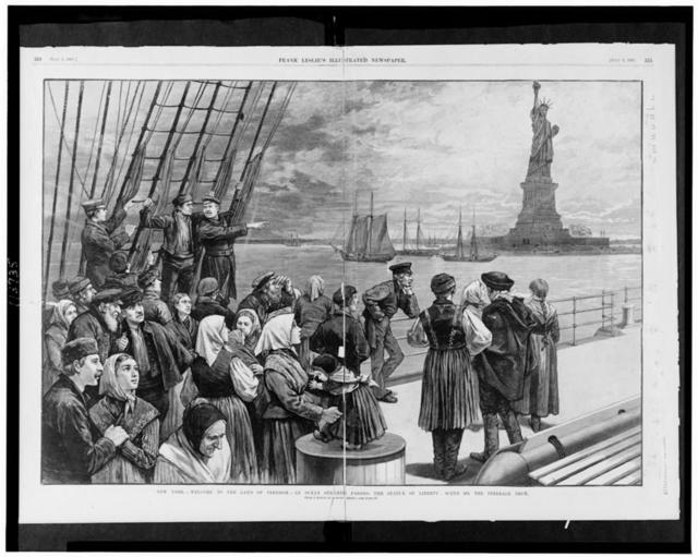 New York - Welcome to the land of freedom - An ocean steamer passing the Statue of Liberty: Scene on the steerage deck / from a sketch by a staff artist.