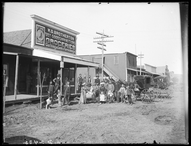 People in front of the new W.G. Brotherton Store at Merna, Nebraska.