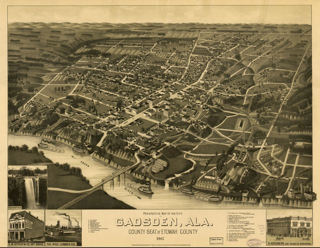 Perspective map of the city of Gadsden, Ala. county seat of Etowah County 1887.