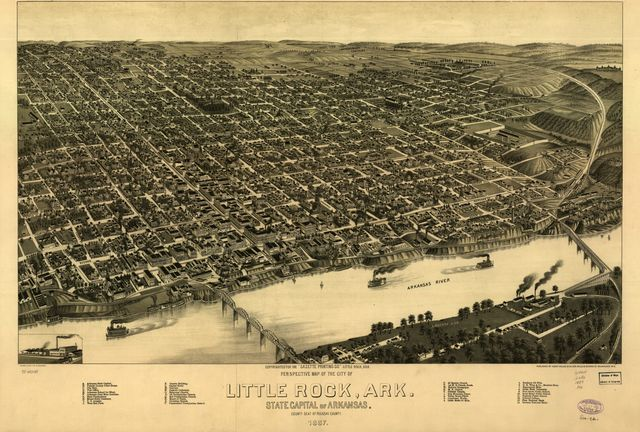 Perspective map of the city of Little Rock, Ark., State capital of Arkansas, county seat of Pulaski County. 1887.