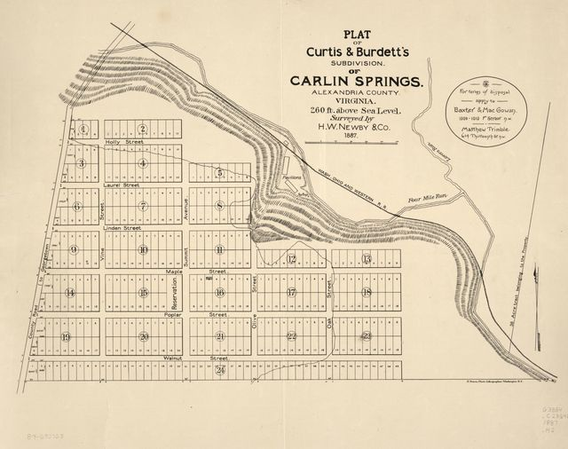 Plat of Curtis & Burdett's subdivision of Carlin Springs, Alexandria County, Virginia : 260 ft. above sea level /