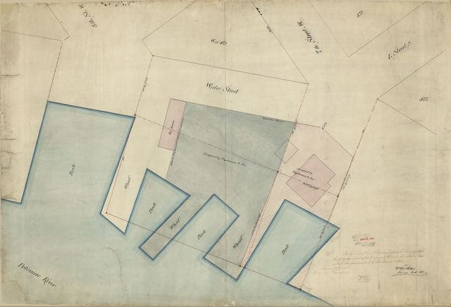 Plat of survey of Wm. M. Rapley's property fronting square west of sq. 471 : showing the docks and wharves described in lease and also the part occupied by Stephenson & Bro. : [Washington D.C.] /