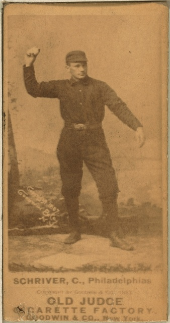[Pop Schriver, Philadelphia Quakers, baseball card portrait]