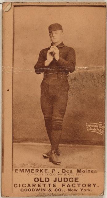[R. Emmerke, Des Moines Team, baseball card portrait]