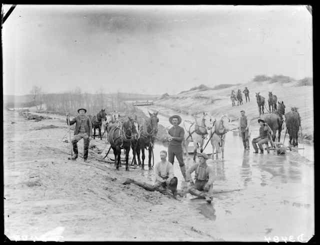 R.G. Carr building a mill race at West Union, Nebraska, taking water from Middle Loup.