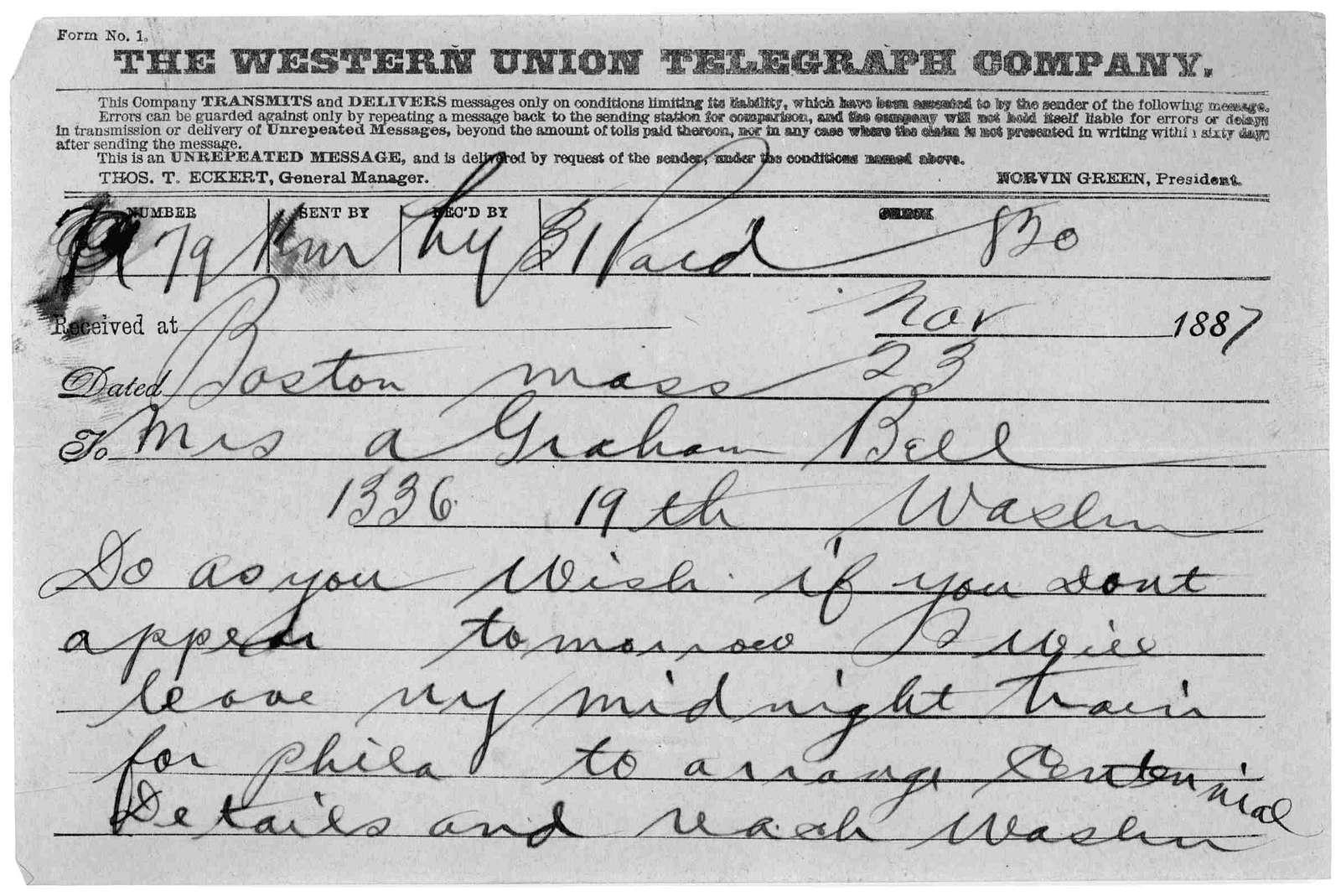 Telegram to Mabel Hubbard Bell, November 23, 1887