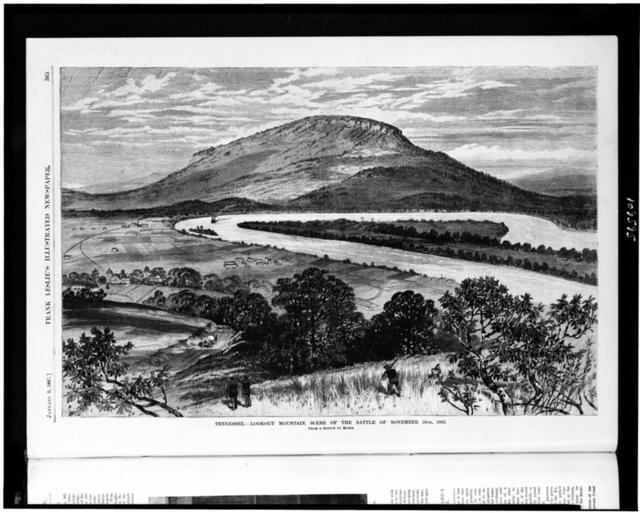Tennessee. Lookout Mountain, scene of the battle of November 24th, 1863 / from a sketch by Moser.