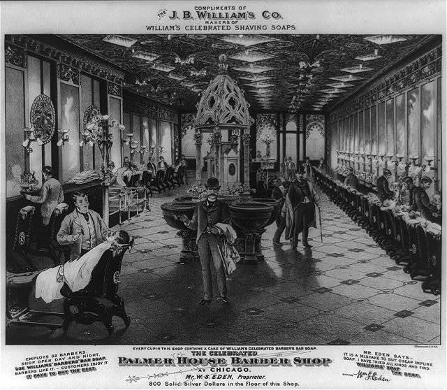 The celebrated Palmer House barber shop at Chicago. Mr. W.S. Eden, proprietor / J. Ottmann Lith. N.Y.