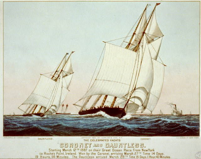 The celebrated Yachts Coronet and Dauntless: Starting March 12th 1887 on their great ocean race from New York to Roche's Point, Ireland