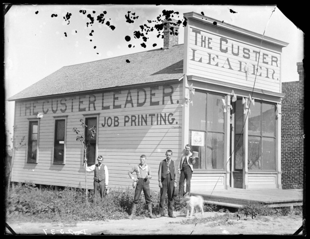 "The ""Custer Leader"", the newspaper which was published in Custer County during the year of 1887."
