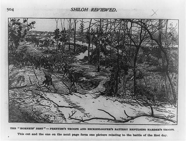 "The ""hornets' nest"" - Prentiss's troops and Hickenlooper's battery repulsing Hardee's troops / Ogden."